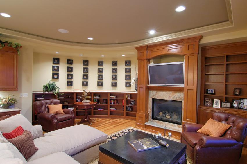 Home with aquarium luxury family room